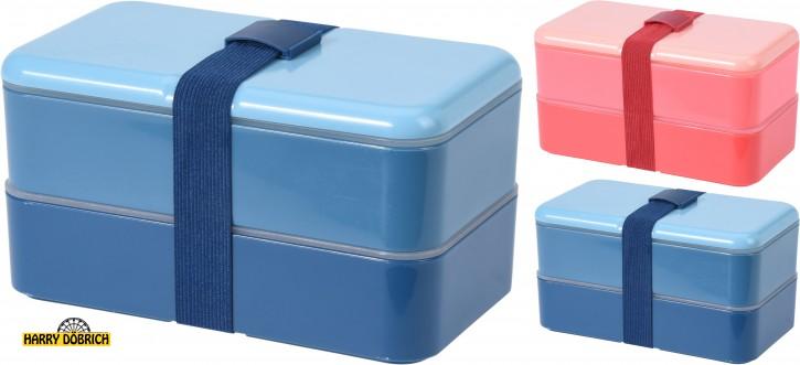 Lunchbox 2tlg mit Band 2 Farben sortiert
