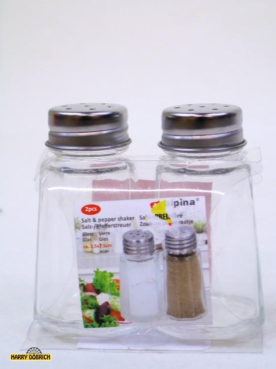 Salz und Pfefferstreuer Glas 3.5x3.5x7cm
