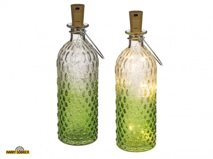 Deko Glasflasche mit Led-Korken