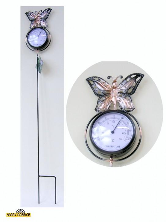 Metall-Gartenstecker mit Thermometer