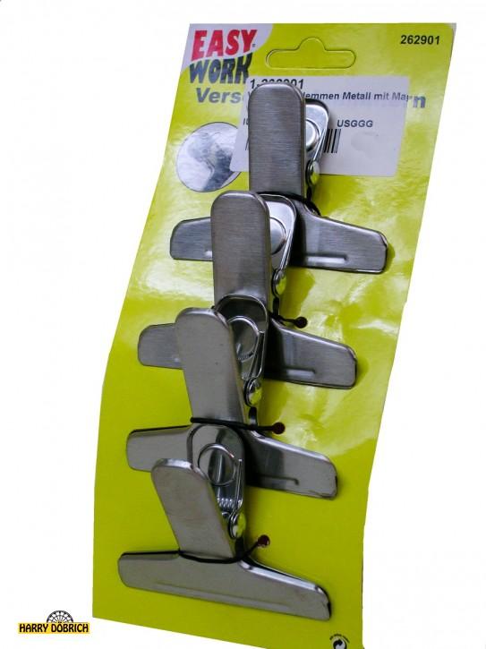 Verschlussklemmen Metall mit Magnet 4er Set