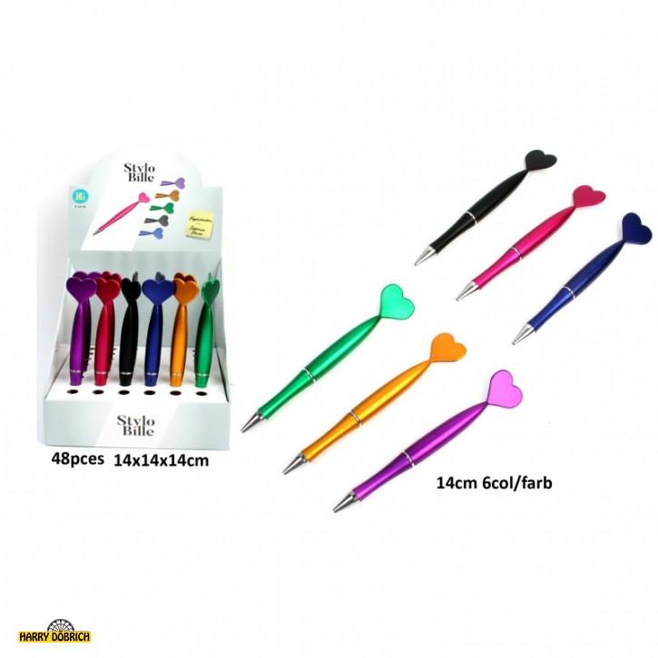 Kugelschreiber Herz 6 Farben sortiert