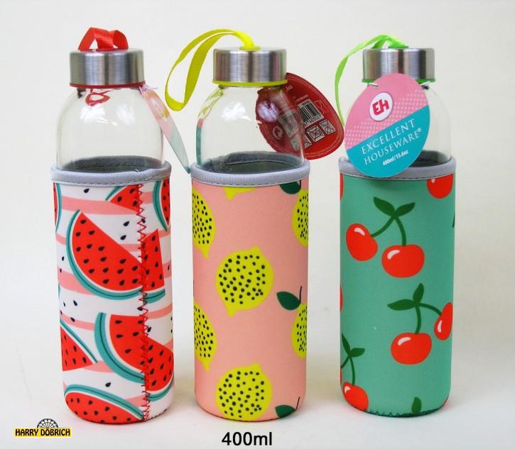 Glastrinkflasche 400ml 3-fach sortiert
