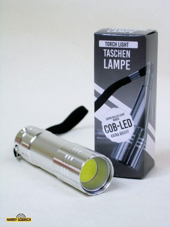 Taschenlampe LED COB 9cm Metall farbig sortiert