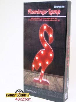 Holz-Leuchte Flamingo 42cm 12 LED