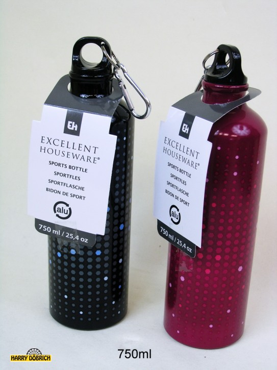 Trinkflasche Alu 750ml 4 Farben sortiert