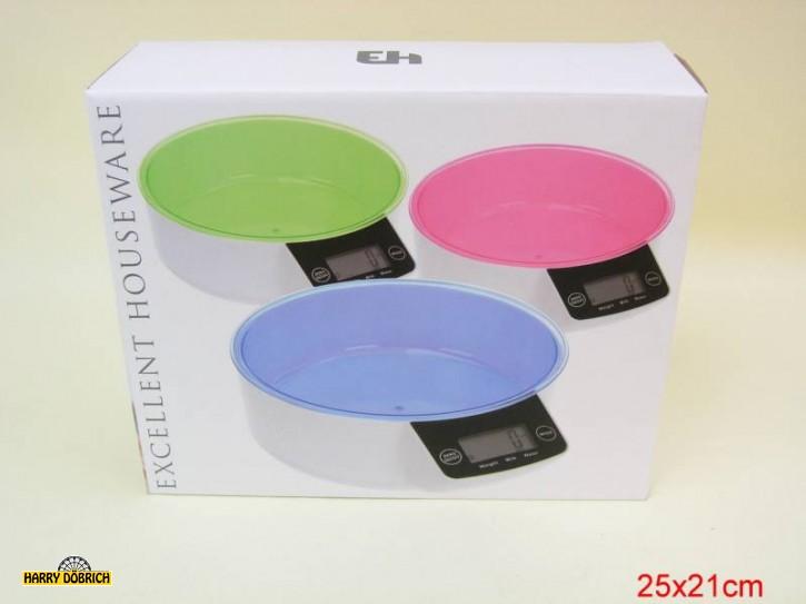 Küchenwaage electr. farbig sortiert