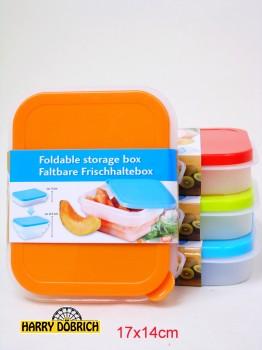 Frischhaltebox 17x14cm faltbar 4-fach sortiert