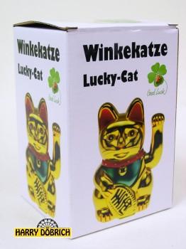 Winkekatze 16cm gold in Box