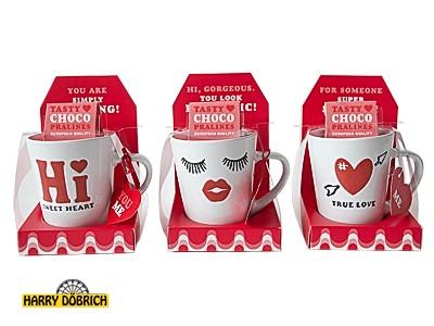Kaffeebecher mit Pralinen 3-fach sortiert