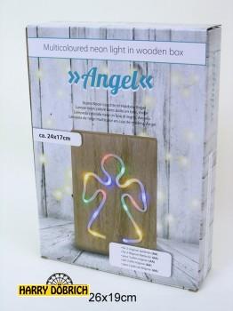 Neon Leuchte Engel auf Holz