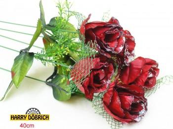 Rose 40cm mit Glitzer