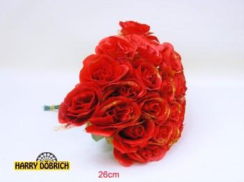 Rose 25cm mit Glitzer 4-fach sortiert