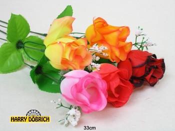 Rose 33cm 6-fach sortiert Schleierkraut