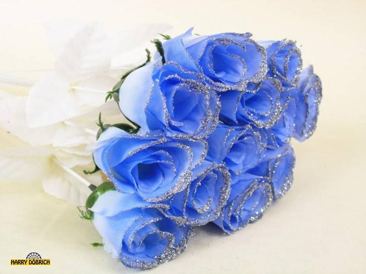 Rosenknospe 45cm Blau/Glitzer