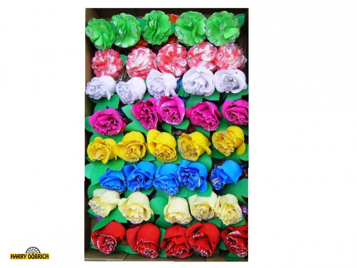 Papierblumen 2Dr sortiert mit Glitzer 85 Stück