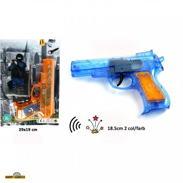 Funkenpistole mit Sound ca. 18cm farbig sortiert