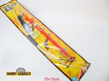 Pfeil und Bogen mit Messer auf Karte 76x15cm