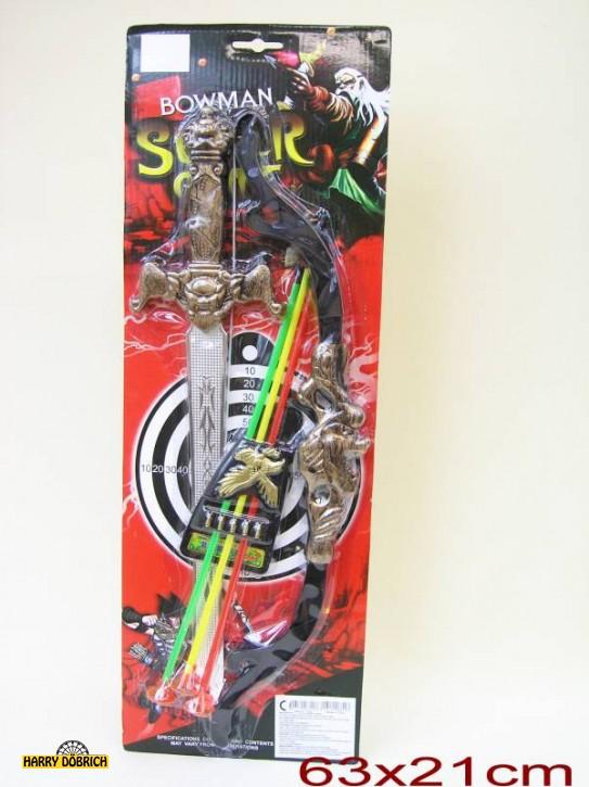 Pfeil + Bogen 62x21cm m Schwert