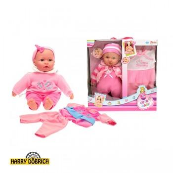 Babypuppe 40cm mit Kleidung 2-fach sortiert
