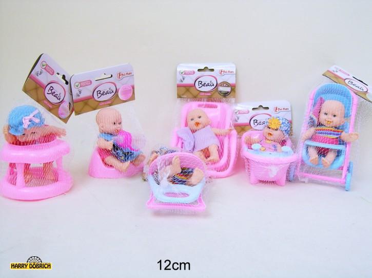 Mini Babypuppe 12cm 6-fach sortiert