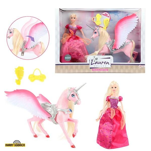 Puppe Lauren Prinzessin mit Glitzerpferd