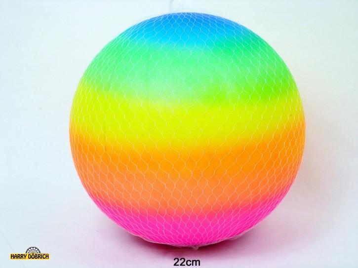Aufblas-Ball ca. 22cm regenbogen mit Netz