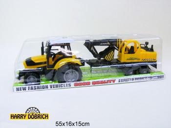 Traktor mit Bagger auf Hänger 13x53cm