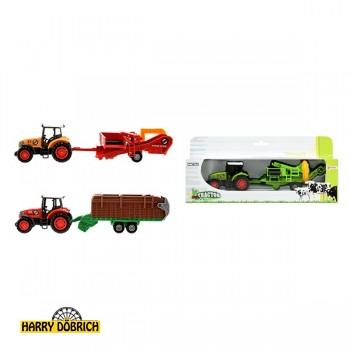 Traktor Metall mit Anhänger 20cm 3-fach sortiert