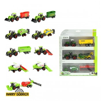 Traktor Metall mit Hänger 3er Set
