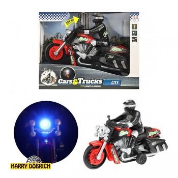 Motorrad mit Fahrer 23cm Licht+Sound