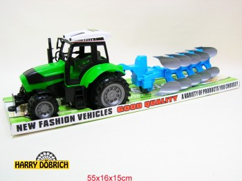 Traktor mit Pflug 55x15x16cm