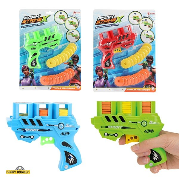 Flugscheiben Pistole farbig sortiert