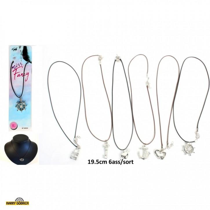 Halskette mit Anhänger silberfarbig 6-fach sortiert