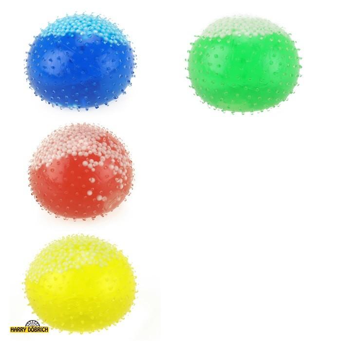 Quetschball farbig mit weißen Perlen gefüllt