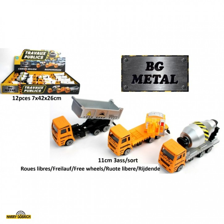 Baufahrzeuge 11cm Teilmetall 3-fach sortiert