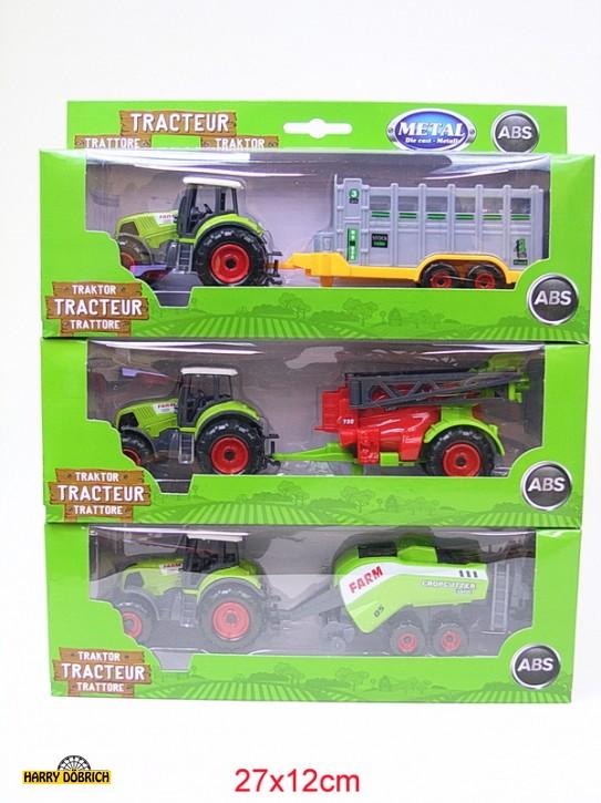 Traktor Metall mit Hänger 21,5cm sortiert