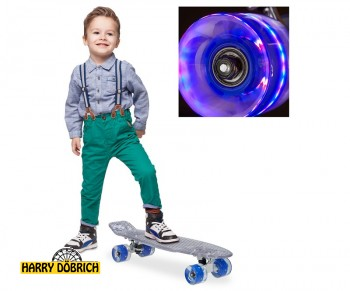 Skateboard 57cm LED Rollen bunt