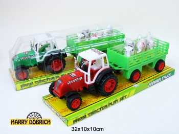 Traktor mit Anhänger 3 Tiere 32cm sortiert