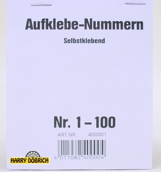 Nummernaufkleber 001-100 Block