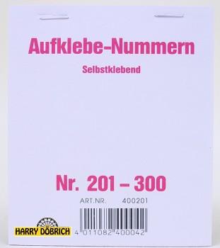 Nummernaufkleber 201-300 Block