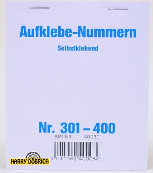 Nummernaufkleber 301-400 Block