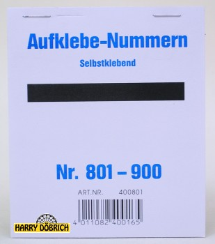 Nummernaufkleber 801-900 Block