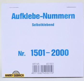 Nummernaufkleber 1501-2000 500er Block