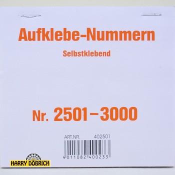Nummernaufkleber 2501-3000 500er Block