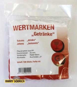 Wertmarken Chips rot Getränke 100er Pack
