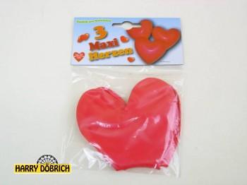 Herzluftballon 35cm rot 3er Beutel