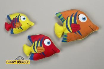 Fisch 19cm bunt mit Streifen 3-fach sortiert