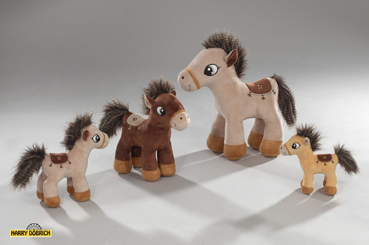 Pferd stehend mit Sattel 21cm 3-fach sortiert
