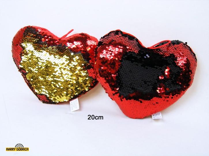 Glitzerherz Pailletten 20cm rot 2fach sortiert